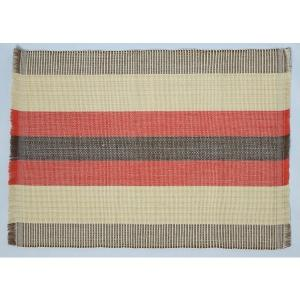 フィリピン 工芸品 Ilocos 地方伝統 手織り ランチョンマット 2枚組 レッド|eei7