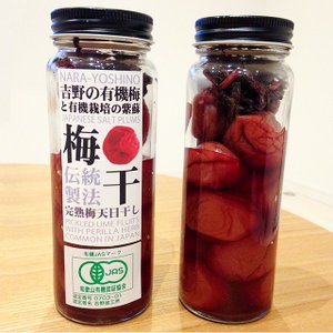 吉野の有機梅と有機栽培の紫蘇梅干し 瓶入り 160g|eekome