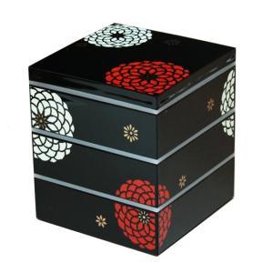 重箱 おしゃれ 三段 15.0 角 黒 百華 001-1747