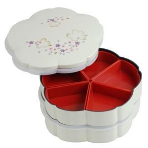 重箱 おしゃれ 二段 桜型 アイボリー 001-291