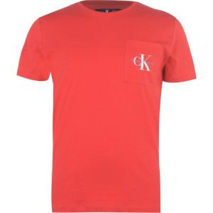 カルバンクライン Calvin Klein Jeans メンズ Tシャツ トップス Mono Chest Print T Shirt Racing Red ef-3