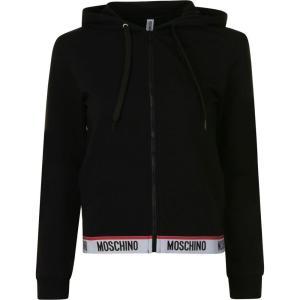 モスキーノ MOSCHINO レディース パーカー トップス logo band hooded zip sweatshirt Black ef-3