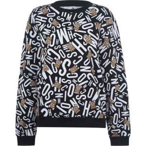 モスキーノ MOSCHINO レディース スウェット・トレーナー トップス bear print underwear sweatshirt Black ef-3