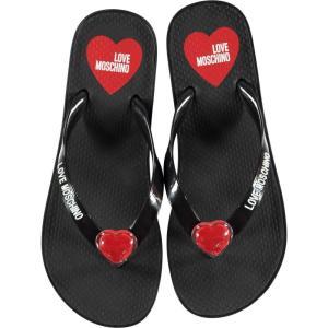 モスキーノ Love Moschino レディース ビーチサンダル シューズ・靴 heeled flip flops NERO ef-3