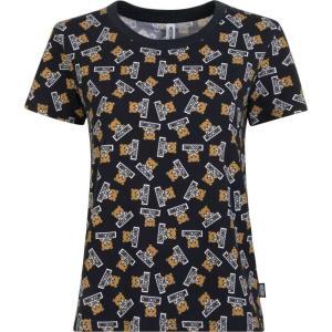 モスキーノ MOSCHINO レディース Tシャツ トップス all over teddy print t shirt Black ef-3