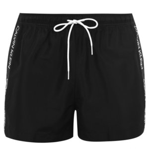 カルバンクライン Calvin Klein メンズ 海パン 水着・ビーチウェア Side Tape Swim Shorts Black|ef-3