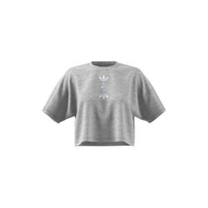 アディダス ADIDAS ORIGINALS レディース ベアトップ・チューブトップ・クロップド ロゴTシャツ adidas Large Logo Crop Tee Medium Grey Heather/White ef-3