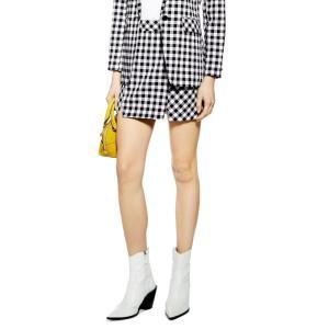 トップショップ TOPSHOP レディース ミニスカート スカート Gingham Miniskirt Black Multi|ef-3