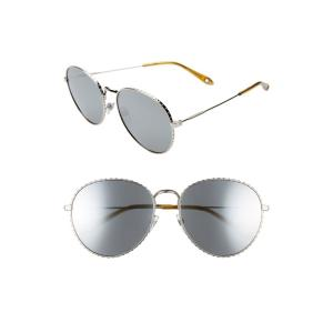 ジバンシー GIVENCHY レディース メガネ・サングラス 60mm Round Metal Sunglasses Palladium|ef-3