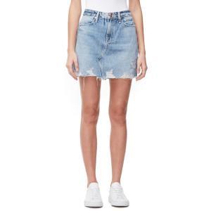 グッドアメリカン GOOD AMERICAN レディース ミニスカート スカート Distressed Denim Miniskirt Blue|ef-3