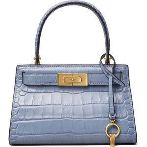 トリー バーチ TORY BURCH レディース トートバッグ バッグ Lee Radziwill Croc Embossed Leather Tote Bluewood|ef-3