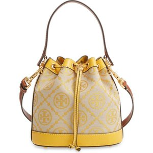 トリー バーチ TORY BURCH レディース バッグ バケットバッグ T Monogram Jacquard & Leather Bucket Bag Goldfinch|ef-3