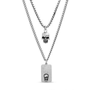 スティーブ マデン STEVE MADDEN メンズ ネックレス ジュエリー・アクセサリー Skull Dog Tag Duo Pendant Necklace Metallic Silver|ef-3