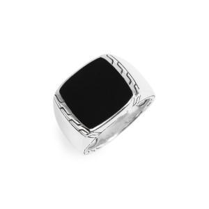 ジョン ハーディー JOHN HARDY メンズ 指輪・リング ジュエリー・アクセサリー Classic Chain Signet Ring Silver/ Black Jade|ef-3