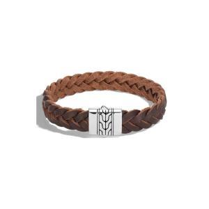 ジョン ハーディー JOHN HARDY メンズ ブレスレット ジュエリー・アクセサリー Classic Chain Woven Leather Bracelet Silver/ Brown Leather|ef-3