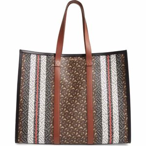 バーバリー BURBERRY ユニセックス トートバッグ バッグ Medium Monogram Stripe E-Canvas Tote Bridle Brown|ef-3
