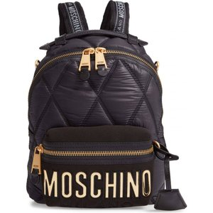 モスキーノ MOSCHINO レディース バックパック・リュック バッグ Quilted Nylon Backpack Black/Gold ef-3