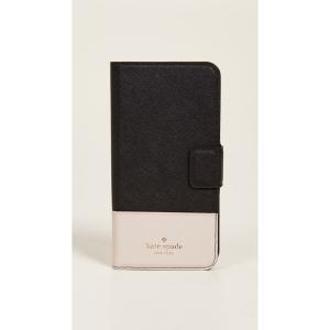 ケイト スペード Kate Spade New York レディース iPhone (8 Plus)ケース Leather Wrap Folio iPhone 7 Plus / 8 Plus Case Black/Tusk|ef-3