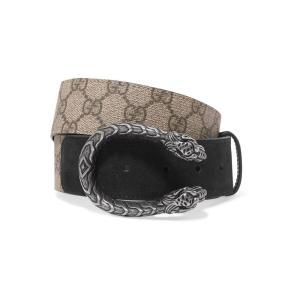 グッチ Gucci レディース ベルト Dionysus printed coated-canvas and suede belt|ef-3