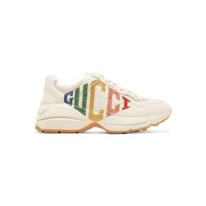 グッチ Gucci レディース スニーカー シューズ・靴 Rhyton metallic logo-print leather sneakers Mystic White|ef-3
