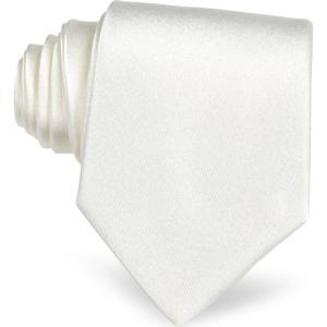 フォルツィエリ Forzieri メンズ ネクタイ White Solid Silk Tie White|ef-3