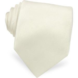 フォルツィエリ Forzieri メンズ ネクタイ Solid White Extra-Long Pure Silk Tie White|ef-3