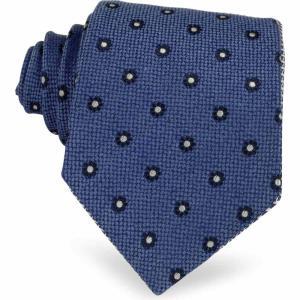フォルツィエリ Forzieri メンズ ネクタイ Blue Small Flower Woven Silk Tie Blue|ef-3
