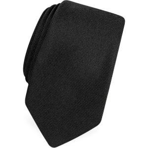 フォルツィエリ Forzieri メンズ ネクタイ ナロータイ Solid Black Twill Silk Narrow Tie Black|ef-3