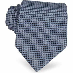 フォルツィエリ Forzieri メンズ ネクタイ Geometric Two Tone Woven Silk Tie Sky Blue|ef-3