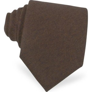 フォルツィエリ Forzieri メンズ ネクタイ Solid Brown Cashmere Extra-Long Tie Brown|ef-3