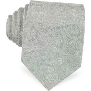 フォルツィエリ Forzieri メンズ ネクタイ Light Gray Ornamental Print Woven Silk Tie Light Gray|ef-3