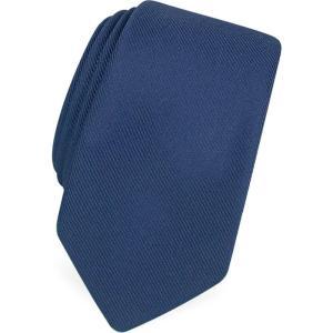 フォルツィエリ Forzieri メンズ ネクタイ ナロータイ Solid Blue Twill Silk Narrow Tie Blue|ef-3