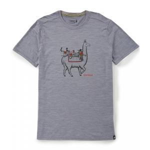 スマートウール SmartWool メンズ Tシャツ トップス Merino Sport 150 Llama Adventures Short-Sleeve Tee Light Gray Heather|ef-3