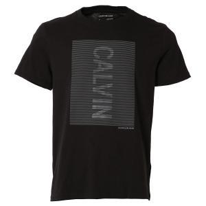 【即納】カルバンクライン Calvin Klein メンズ Tシャツ トップス CK HD LINE LOGO CREWNECK TEE BLACK クルーネック ロゴ|ef-3