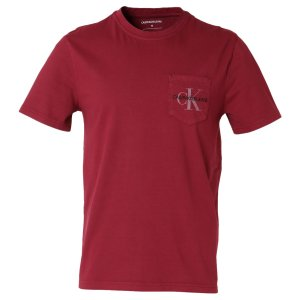 【即納】カルバンクライン Calvin Klein メンズ Tシャツ トップス GARMENT DYED MONOGRAM POCKET TEE BEET RED  ポケットT ポケT|ef-3