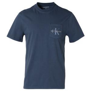 【即納】カルバンクライン Calvin Klein メンズ Tシャツ トップス GARMENT DYED MONOGRAM POCKET TEE MOOD INDIGO ポケットT ポケT|ef-3