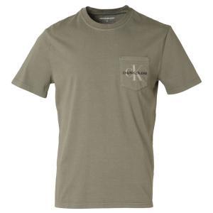 【即納】カルバンクライン Calvin Klein メンズ Tシャツ トップス GARMENT DYED MONOGRAM POCKET TEE DUSTY OLIVE  ポケットT ポケT|ef-3