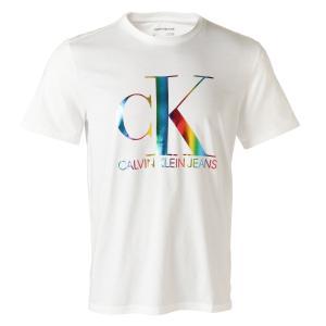 【即納】カルバンクライン CALVIN KLEIN メンズ Tシャツ トップス SS Monogram Pride Crewneck Tee BRILLIANT WHITE モノグラムロゴ クルーネック|ef-3