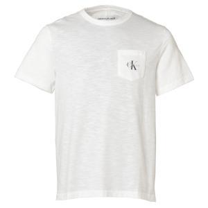 【即納】カルバンクライン CALVIN KLEIN メンズ Tシャツ トップス Short Sleeve Monogram Pocket Crew BRILLIANT WHITE ポケット モノグラムロゴ クルーネック|ef-3