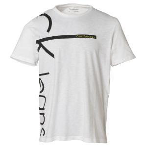 【即納】カルバンクライン Calvin Klein メンズ Tシャツ トップス CALVIN VERTICAL CREW TEE WHITE クルーネック ロゴ|ef-3