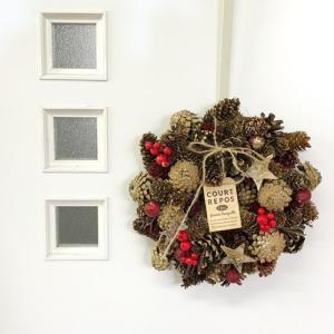 クリスマスリース 玄関 ナチュラルリース M P付 ナチュラルブラウン CM794-B GREEN HOUSE