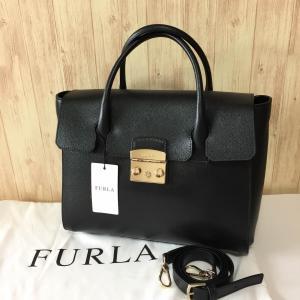 新品 フルラ ハンドバッグ FURLA メトロポリス M サッチェル ブラック