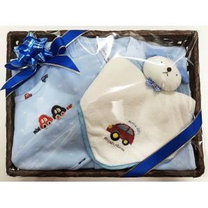 出産祝い 男の子 ベビーギフト オリジナルベビーギフト ブルー くるま  2WAYコンビドレス スタイ ビブ よだれかけ タオル ハンドタオル リストガラガラ|egaoshop