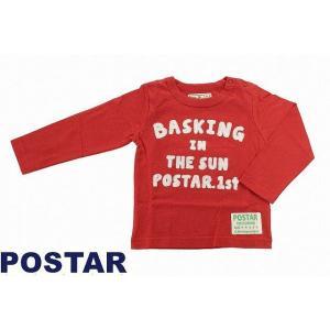 ロンT キッズ POSTAR ポスター BASKINGロンT レッド 100cm 110cm 120cm 130cm  30%OFF!|egaoshop