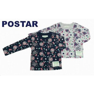 POSTAR ポスター POP柄ロンT 杢グレー ネイビー 100cm 110cm 120cm 130cm 30%OFF!|egaoshop