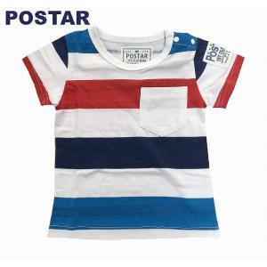 POSTAR ポスター ボーダーTシャツ レッド 80cm 90cm 95cm 100cm 110cm 120cm 130cm |egaoshop