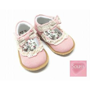 Souris スーリー リボンシューズ キャンパスシューズ リボン ピンク 女の子 子供靴 13cm 14cm 15cm 16cm 17cm 18cm 19cm|egaoshop