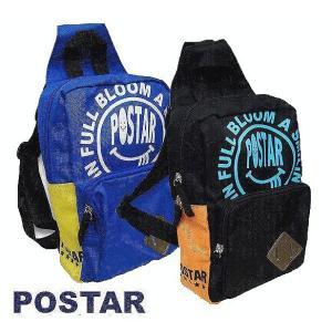 ボディバック POSTAR ポスター スマイルロゴボディバック ブルー ブラック |egaoshop