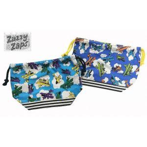 ZAZZY ZAPS(ザジーザップス) 飛行機柄 お弁当袋 巾着袋 巾着 サックス ブルー 2点までネコポス発送OK! 30%OFF!|egaoshop