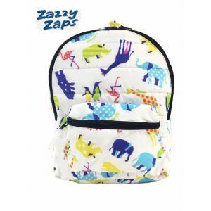 Zazzy zaps ザジーザップス どうぶつ柄リュックサック ホワイト どうぶつ 動物 白 子供 キッズ リュック 子供鞄 通園 通学 遠足 子供用|egaoshop